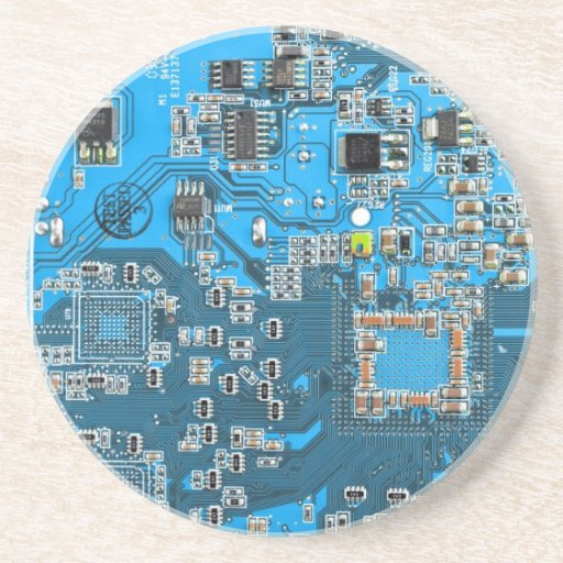 Placa de circuito del friki del ordenador - azul posavasos para bebidas