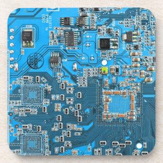 Placa de circuito del friki del ordenador - azul posavasos
