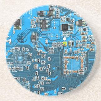 Placa de circuito del friki del ordenador - azul posavasos diseño