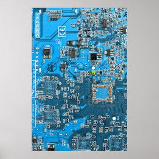 Placa de circuito del friki del ordenador - azul póster
