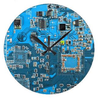 Placa de circuito del friki del ordenador - azul reloj