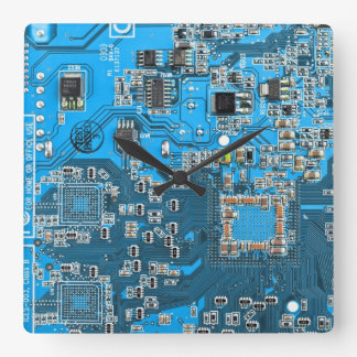 Placa de circuito del friki del ordenador - azul relojes de pared