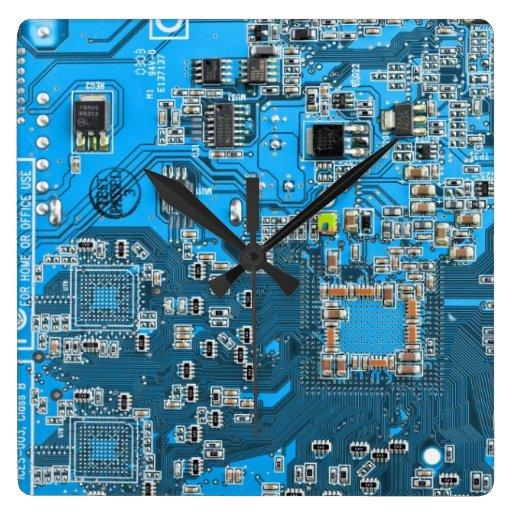 Placa de circuito del friki del ordenador - azul reloj cuadrado