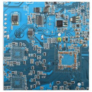 Placa de circuito del friki del ordenador - azul servilleta
