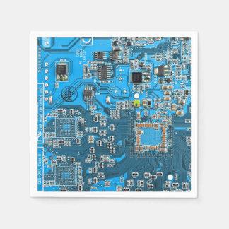 Placa de circuito del friki del ordenador - azul servilleta de papel