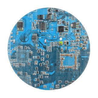 Placa de circuito del friki del ordenador - azul tabla para cortar