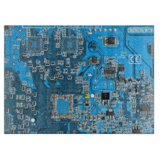 Placa de circuito del friki del ordenador - azul tablas para cortar