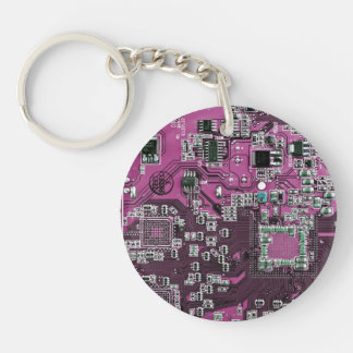 Placa de circuito del friki del ordenador - llavero redondo acrílico a doble cara