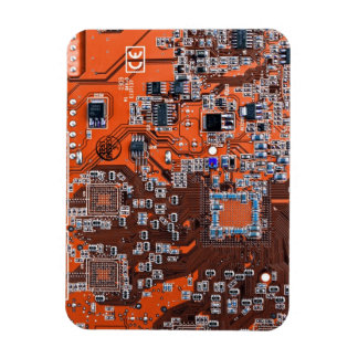 Placa de circuito del friki del ordenador - naranj imán flexible