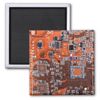 Placa de circuito del friki del ordenador - naranj imán cuadrado
