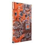 Placa de circuito del friki del ordenador - naranj lona estirada galerías