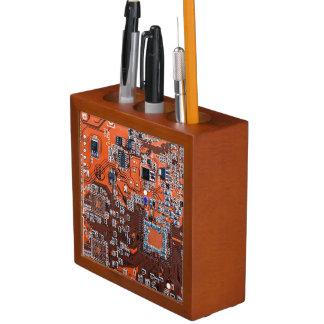 Placa de circuito del friki del ordenador - naranj portalápices
