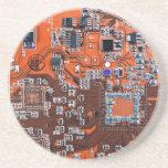 Placa de circuito del friki del ordenador - naranj posavasos personalizados