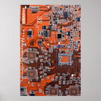 Placa de circuito del friki del ordenador - naranj póster