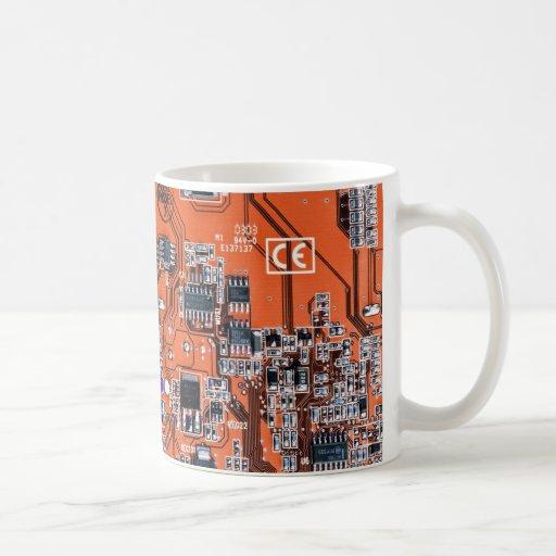 Placa de circuito del friki del ordenador - naranj tazas de café