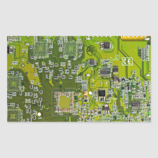 Placa de circuito del friki del ordenador - oro rectangular pegatina