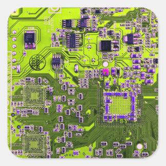 Placa de circuito del friki del ordenador - calcomania cuadradas