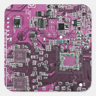 Placa de circuito del friki del ordenador - pegatina cuadrada