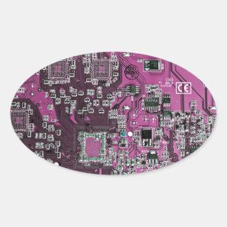 Placa de circuito del friki del ordenador - pegatina ovalada