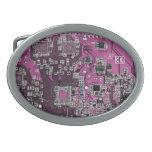 Placa de circuito del friki del ordenador - púrpur hebillas de cinturón ovales