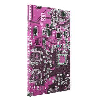 Placa de circuito del friki del ordenador - púrpur impresiones en lona