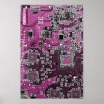 Placa de circuito del friki del ordenador - púrpur posters