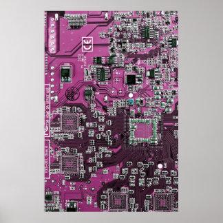 Placa de circuito del friki del ordenador - púrpur póster