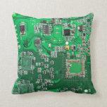 Placa de circuito del friki del ordenador - verde cojin