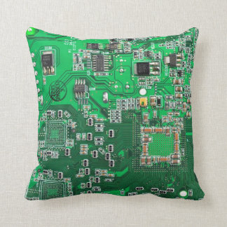 Placa de circuito del friki del ordenador - verde cojín decorativo