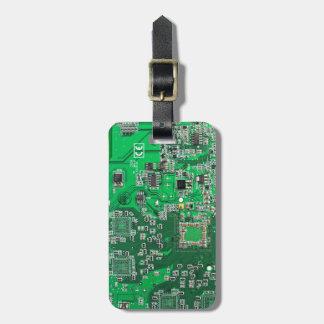 Placa de circuito del friki del ordenador - verde etiquetas para maletas