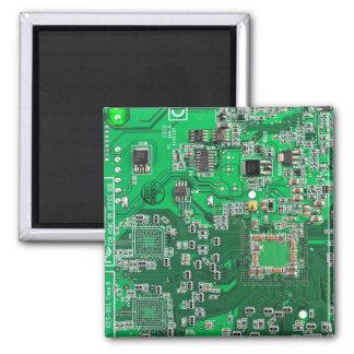 Placa de circuito del friki del ordenador - verde imán cuadrado