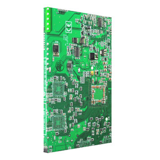 Placa de circuito del friki del ordenador - verde impresiones en lona estiradas