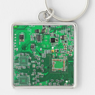 Placa de circuito del friki del ordenador - verde llavero cuadrado plateado