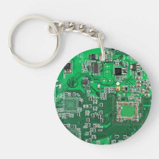 Placa de circuito del friki del ordenador - verde llavero redondo acrílico a doble cara