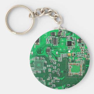 Placa de circuito del friki del ordenador - verde llavero redondo tipo pin