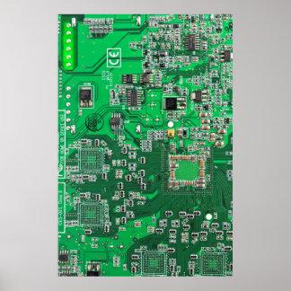 Placa de circuito del friki del ordenador - verde poster