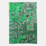 Placa de circuito del friki del ordenador - verde toallas de cocina