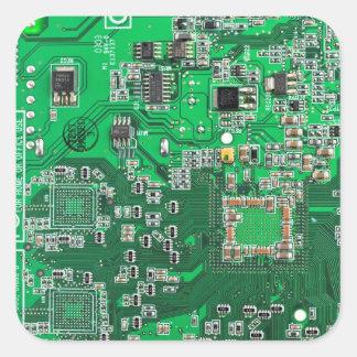 Placa de circuito del friki del ordenador - verde calcomanías cuadradas