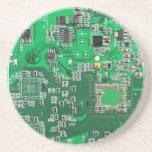Placa de circuito del friki del ordenador - verde posavasos cerveza