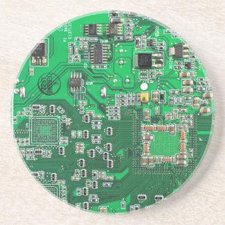 Placa de circuito del friki del ordenador - verde posavasos para bebidas
