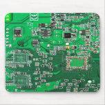 Placa de circuito del friki del ordenador - verde tapetes de ratón