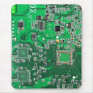 Placa de circuito del friki del ordenador - verde tapetes de raton