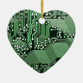 Placa de circuito del ordenador adorno navideño de cerámica en forma de corazón