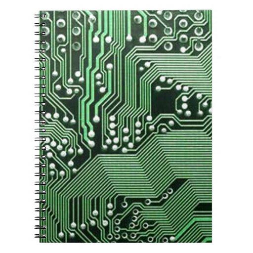 Placa de circuito del ordenador libro de apuntes con espiral