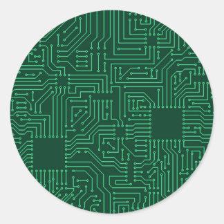 Placa de circuito del ordenador pegatina redonda