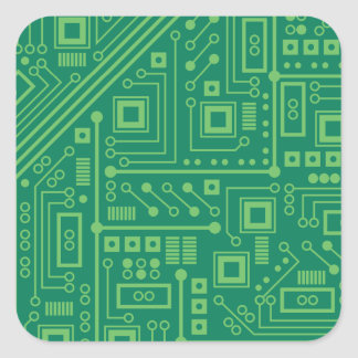 Placa de circuito del robot calcomania cuadradas