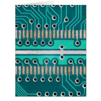 Placa de circuito del verde azul - fotografía de l