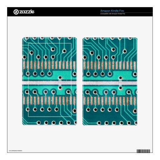 Placa de circuito del verde azul - fotografía de l pegatina skin para kindle fire
