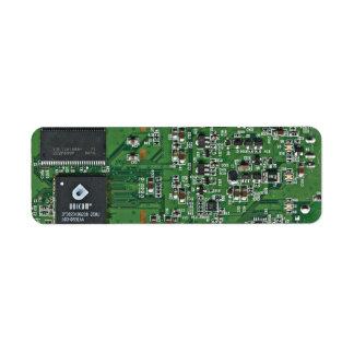 Placa de circuito divertida etiqueta de remitente