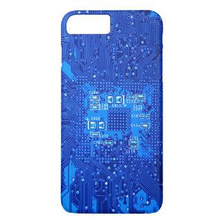 Placa de circuito en monocromo azul funda iPhone 7 plus